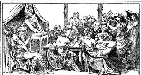 Attila entertains–as imagined by a 19th- century artist.