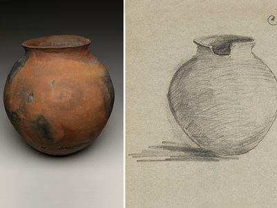 Ceramic olla purchased from Soledad Lala (Soboba Luiseño), Riverside, California, for the collections of the Museum of the American Indian, with a sketch by the collector, E. H. Davis. Olla: NMAI 7/1952. Drawing: Expedition Sketch Book, No. 2, November 1917. Edward H. Davis Papers, Huntington Free Library Collection 9166, Cornell University Library (National Museum of the American Indian, Smithsonian; sketch courtesy of the Cornell University Library)