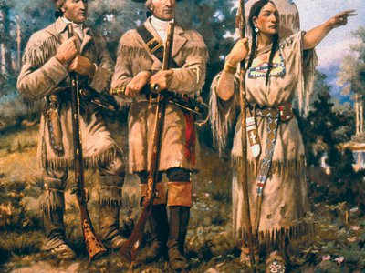 """A detail of """"Lewis and Clark at Three Forks"""" by Edgar Samuel Paxson, mural in lobby of Montana House of Representatives"""