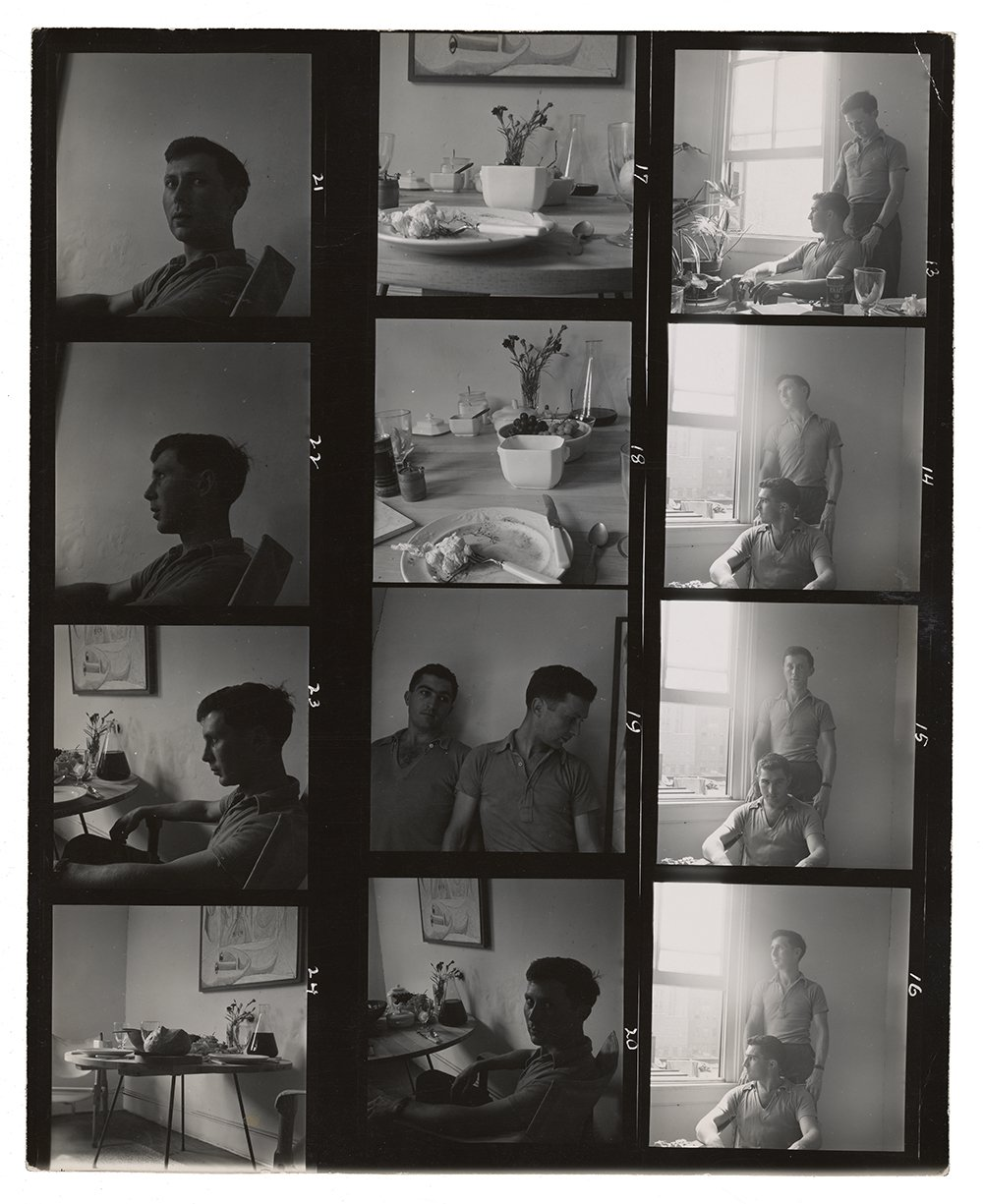 Contact sheet with photographs of George Tooker and William Christopher