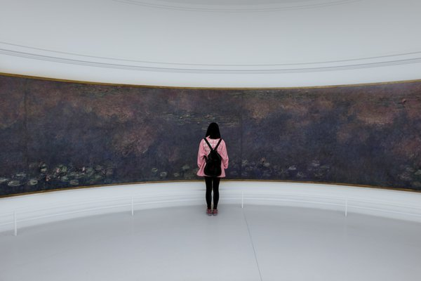 Tourist admiring Monet's Water Lilies at Musée de l'Orangerie, Paris thumbnail