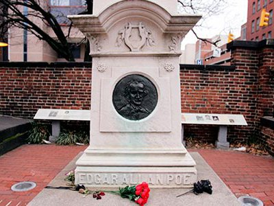 Originally buried in an unmarked grave in 1849, Edgar Allan Poe's remains were moved to this downtown Baltimore monument in 1875.