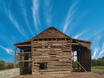 Artifact of bondage: This 19th-century tobacco barn (on its original site, a Kentucky alfalfa pasture, in 1998) contains an interior hut fitted with manacles. The entire structure—a slave jail—was dismantled and moved to Cincinnati, Ohio, where it forms the centerpiece of the National Underground Railroad Freedom Center, which opened in August.