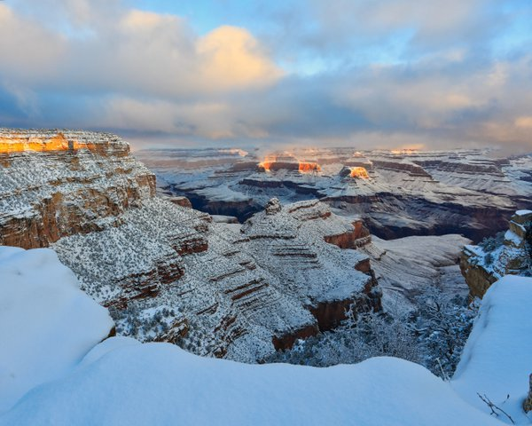 I took my first trip to the Grand Canyon in winter 2018-2019.  I was naturally awed by the sight, but my 6-year old son was less impressed.  Once it snowed, however, he was excited, and the Canyon became even more magical.