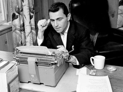 Rod Serling working at his Westport, Connecticut, home in 1956.