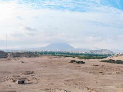 View of Trujillo between mountains and desert In Peru