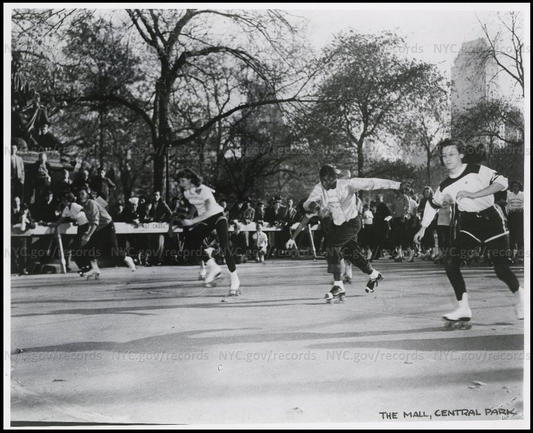 A roller skating competition in Central Park, 1958.