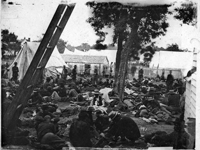 A field hospital in Virginia, photographed in 1862, shows the grim conditions during the Civil War.
