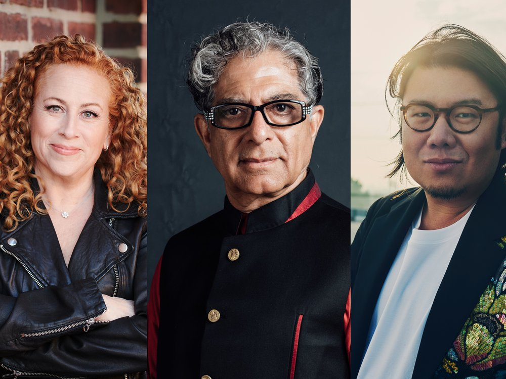 Jodi Picoult, Deepak Chopra, and Kevin Kwan are among the authors speaking at Smithsonian Associates Streaming programs this fall.  Photo left to right (Rainer Hosch, Michael-Allen, Jessica Chou)