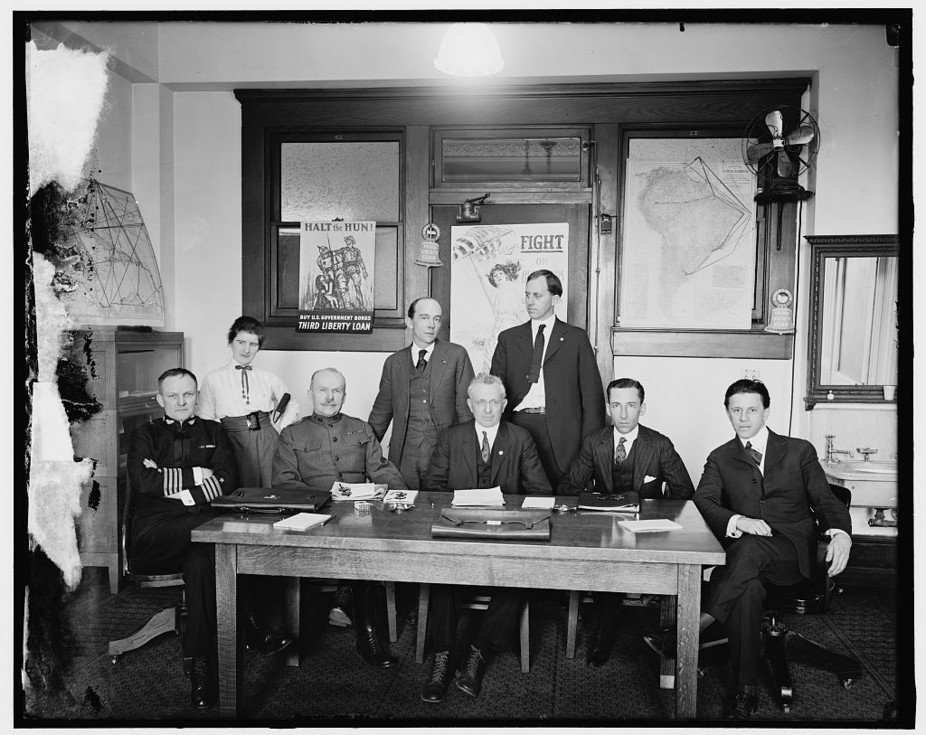 The censorship board. George Creel is seated at far right