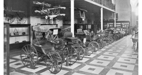 An 1894 exhibition of automobiles at what is now the Smithsonian Arts and Industries Building