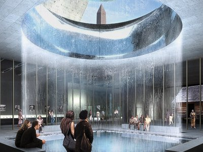 The Contemplative Court (concept illustration) at the National Museum of African American History and Culture will feature falling water and a dramatic view.
