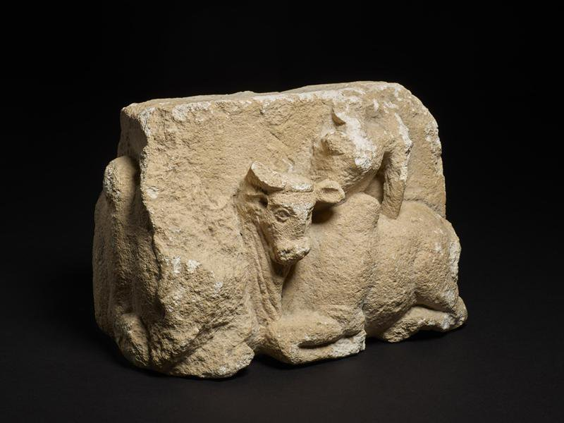 Looted bull sculpture