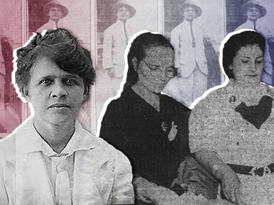 Luisa Capetillo, left, was a labor organizer and one of Puerto Rico's foundational feminists. Right, women on Election Day in 1936, the first year all women on the island could vote.