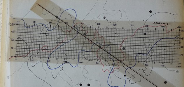 """The score for John Cage's indeterminate composition """"Fontana Mix"""""""