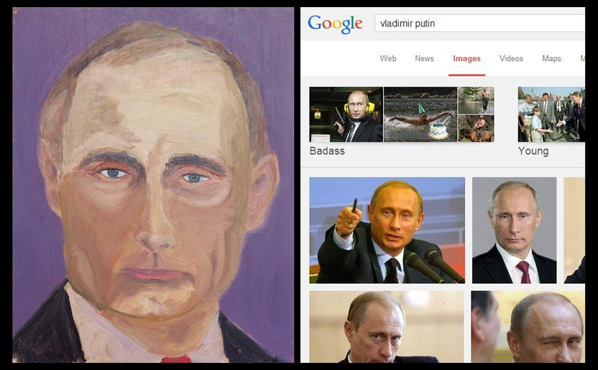 President Bush's portrait of Vladimir Putin, alongside a Google Images search for the Russian President.