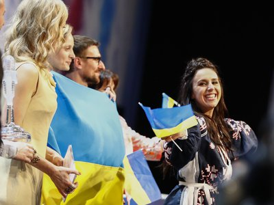 """Ukraine's Jamala (right) at the press conference after she won Eurovision 2016 with """"1944."""""""