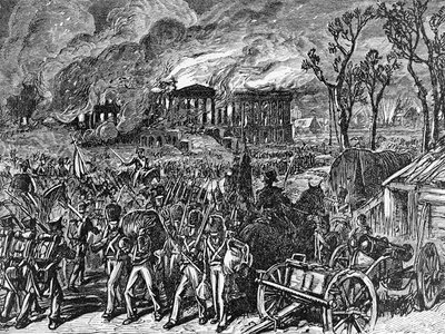 Capture and Burning of Washington by the British, in 1814, wood engraving, 1876