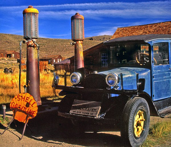 A 1927 Dodge Graham waits for a fill up at Bodie's antiquated gas pumps. thumbnail