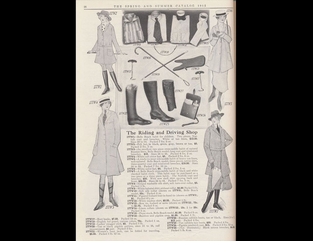 Catalog page showing various styles of riding habits for women.