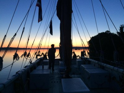 Dawn at the dock at Piscataway, with the many mast stays outlined by the morning light.