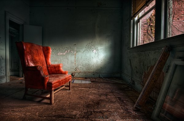 A very captivating chair found in an abandoned building. thumbnail