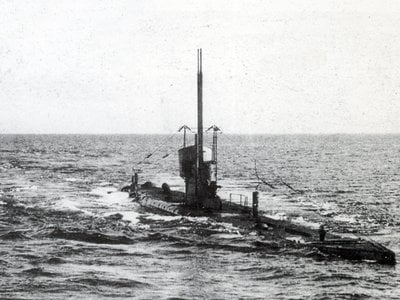 A U-Boat Class II submarine (this one depicted, UB-35, was the same class as UB-29) prowls the open seas.