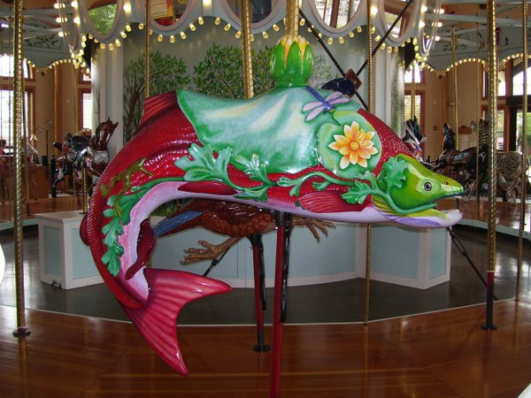 A beautiful carved fish which swims freely in the Albany Carousel & Museum showcase. thumbnail