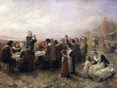 """This popular painting of """"The First Thanksgiving at Plymouth"""" by Jennie A. Brownscombe is an example of how the myths of the holiday became engrained in Americana."""