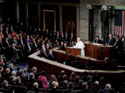 Pope Francis addresses a joint session of Congress, the first leader of the Catholic Church ever to do so, in Washington, D.C. on September 24, 2015.
