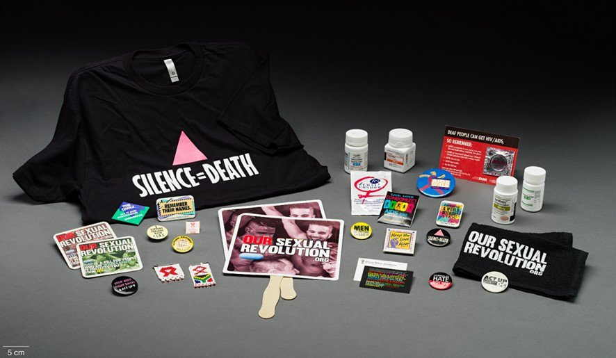 AIDS shirts, medicine bottles and buttons.