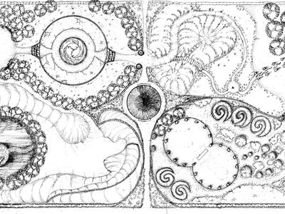A diagram of Reynolds's gardens