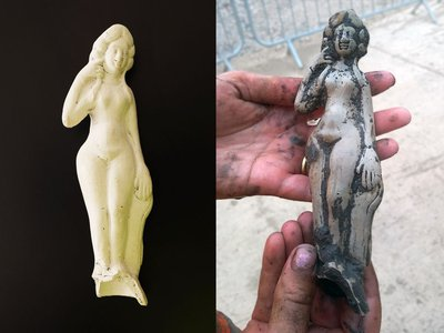 The white pipeclay Venus statuette before (right) and after (left) cleaning