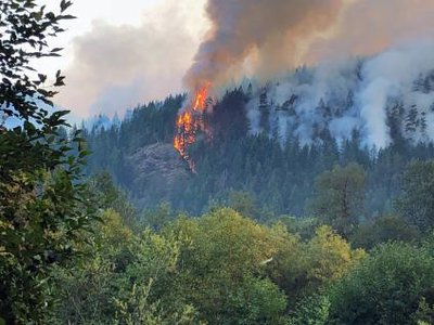 The Maple Fire photographed burning up Jefferson Ridge in Olympic National Forest, Washington. In court documents, prosecutors alleged that men convicted of illegal logging in the National Forest may have started the Maple Fire.