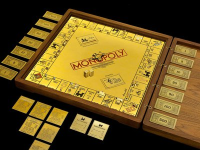 Artist Sidney Mobell created this gold and jewel-encrusted Monopoly set in 1988. Following strict guidelines put forth from Parker Brothers, the game's manufacturer, he used 24-karat gold and 165 precious stones to create the set, which is valued at about $2 million.