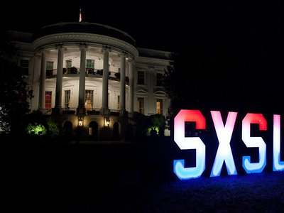 MythBusters' Adam Savage and a team of makers from Baltimore made these letters, which lit up every time someone posted to social media using the hashtag #sxsl.