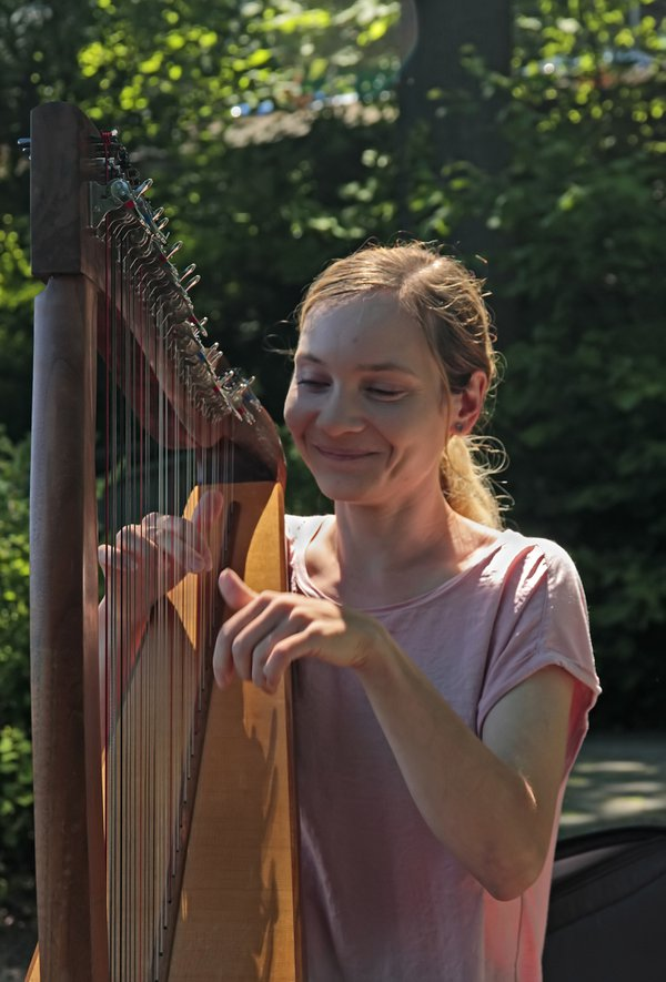 A beautifull young lady playing the celtic harp public thumbnail
