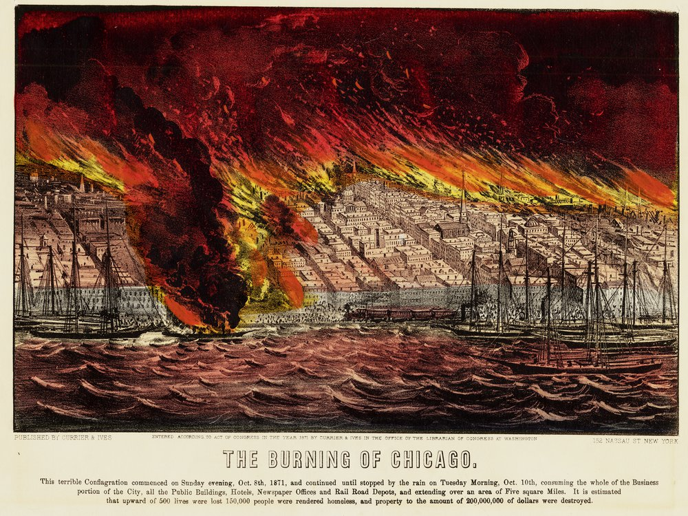 An etching of THE BURNING OF CHICAGO, showing a lakefront scene with boats and bright red, orange and yellow flames ravaging the city