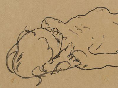 Egon Schiele, Reclining Nude Girl (around 1918)