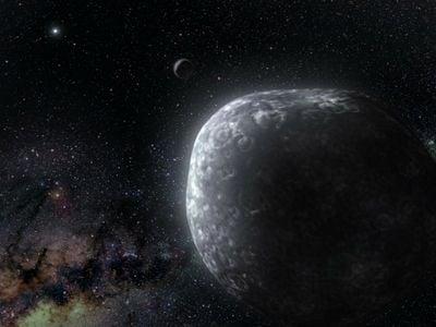 An artist's illustration of a planet-like body in the Kuiper belt.