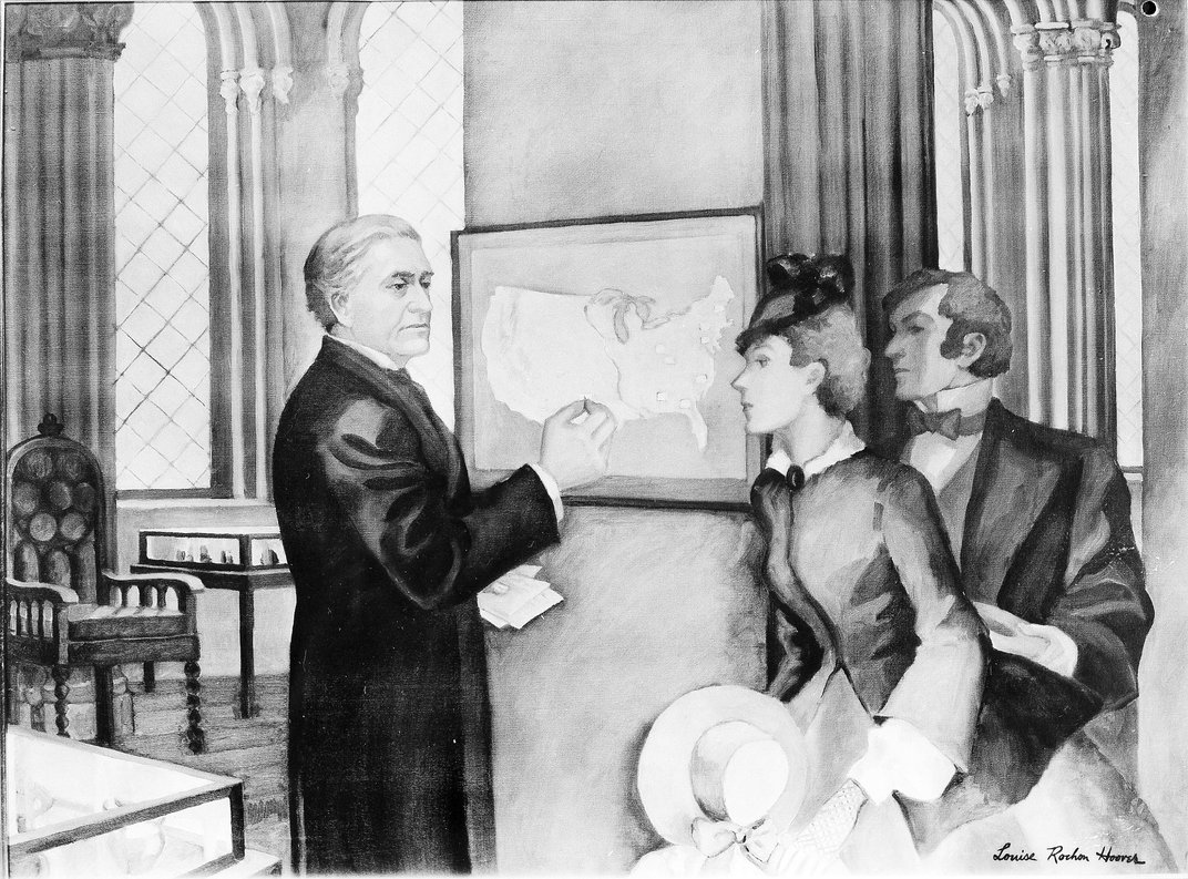 Image of a painting of Joseph Henry in front of a weather map.