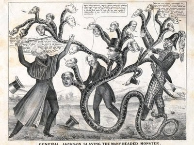 In 1836, both camps in the so-called Bank War—supporters of U.S. president Andrew Jackson, and supporters of the Second Bank of the United States president Nicholas Biddle—lobbed accusations of conspiracy to sway Americans to their sides.