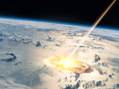 An artist's depiction of an asteroid impacting the Earth.