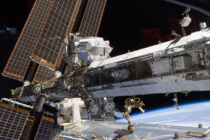 The Alpha Magnetic Spectrometer aboard the ISS.