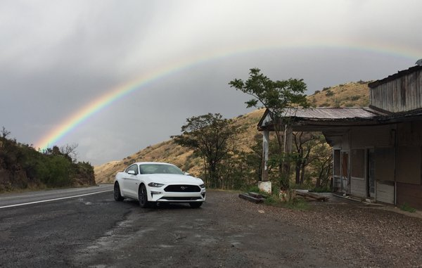 Mustang GT under rainbow in Jerome AZ thumbnail