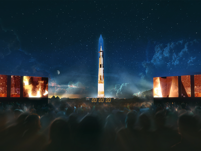 A rendering of the 363-foot Saturn V projection
