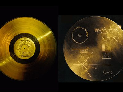 Left, a golden record (© Nasa/National Geographic Society/Corbis) Right, the other side of the golden record shows directions to play it. Identical records carrying the story of Earth were sent into deep space on Voyager 1 and 2.
