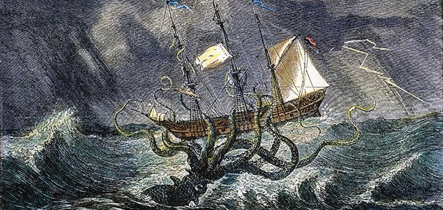 Giant squid attacking ship