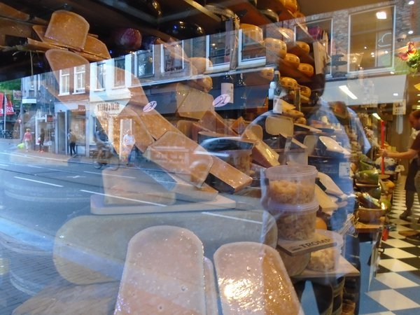 Reflections in a cheeses shop window, Amsterdam, Netherlands thumbnail