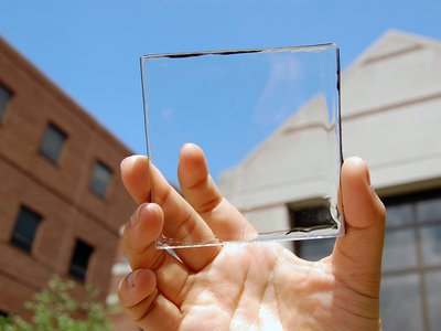 The transparent solar concentrator material doesn't block visible light, but turns light in other parts of the spectrum into electricity.